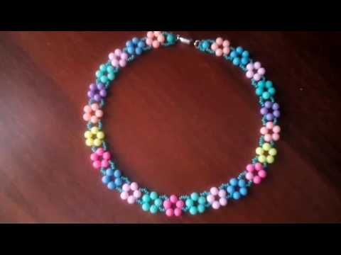 "Фенечка ""Цветочки"" Из Бисера/Beaded Daisy Chain Stitch Tutorial - YouTube"