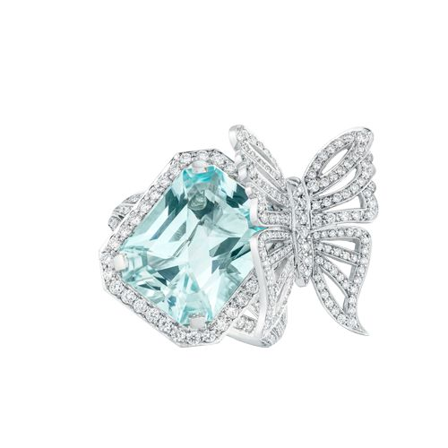 David Marshal London. Aquamarine and diamond Butterfly Ring.