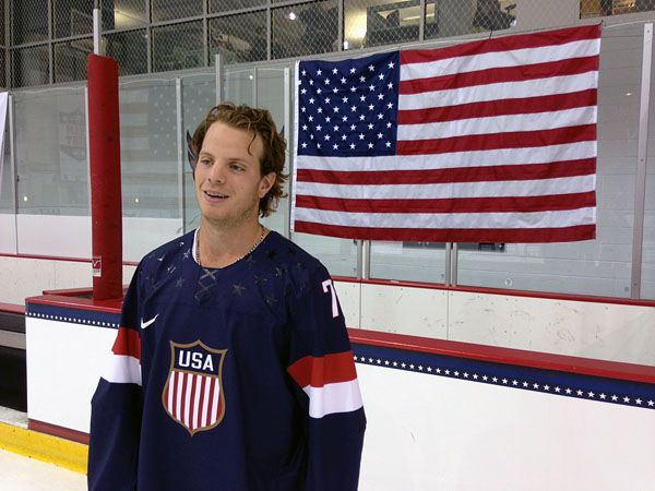John Carlson sporting the USA Olympic Hockey Jersey! Event at KCI 8/27/2013