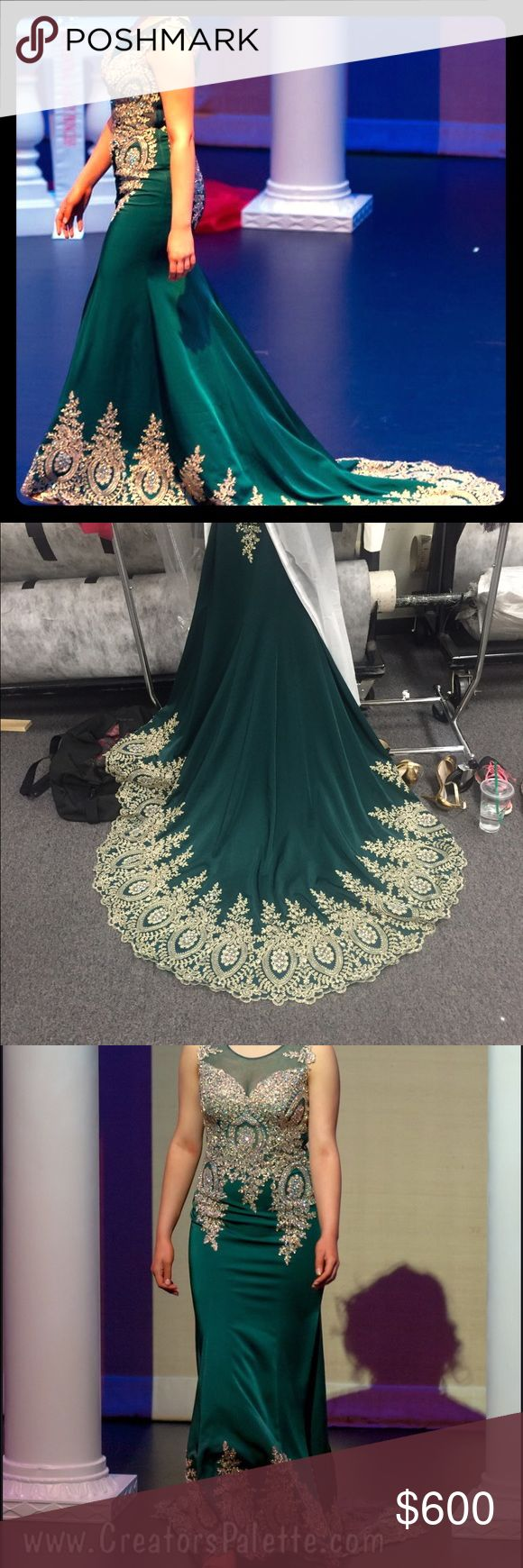 "Beautiful Green & Gold Pageant Dress w/ 3 ft Train Worn for pageant. No brand/bought at garment district Los Angeles, CA. I am 5'8"" in this picture with 2.5"" heels on. Three foot train. Altered in bust (let out to fit 36DD). I was 145lbs at the time. Gorgeous dress. I can provide measurements if requested. Feel free to make an offer :) Dresses Prom"