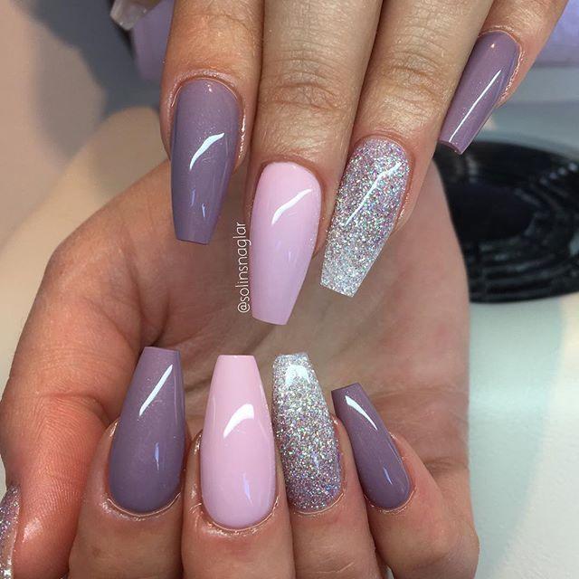 """Blueberry Milk"", ""Pastel Pink"" och glitterombre i lila och silver #lillynails"