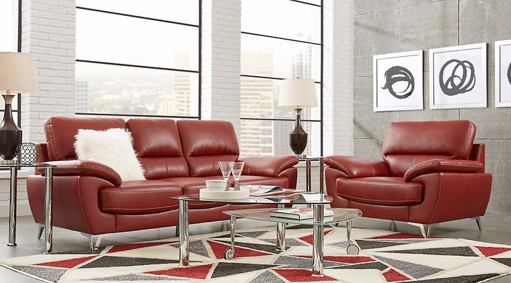 Complete suites of leather furniture for sale. Find a leather living room set online. Red, brown, white, black leather living room sets & more.#iSofa #roomstogo
