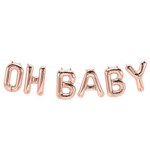 Oh Baby Balloons Rose Gold Foil Balloons Baby Shower Banner Etsy Gold Baby Shower Decorations Rose Gold Baby Shower Baby Balloon