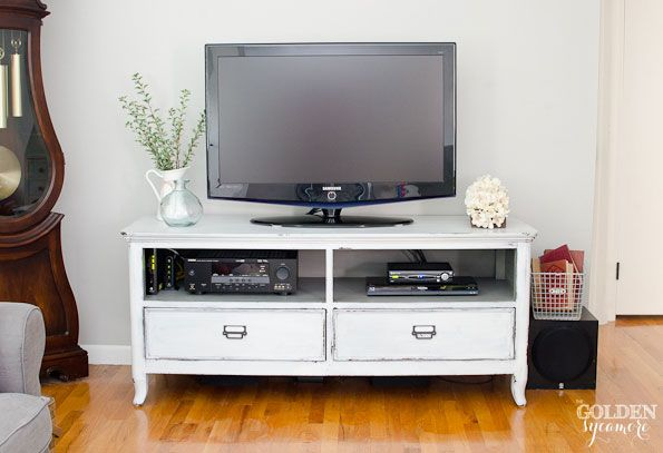 Gray and white painted tv console