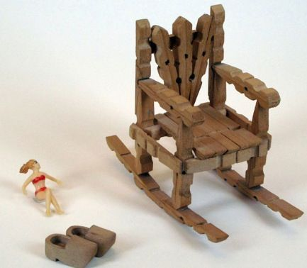Rocking chair made of clothes pins art pinterest for Small wooden rocking chair for crafts