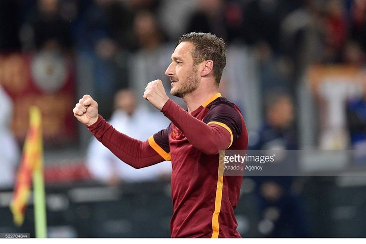 Francesco Totti (10) of AS Roma celebrates after scoring a penalty during Italian Serie A soccer match between AS Roma and Torino at Stadio Olimpico on April 20,2016 in Rome Italy.