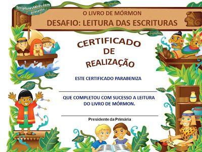 As Tontas Vão Ao Céu: Certificado - Eu Li o Livro de Mórmon Para Primári...