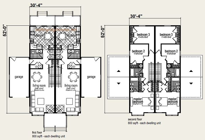 Coolidge duplex floor plan and elevation 1 multi family Modular duplex house plans