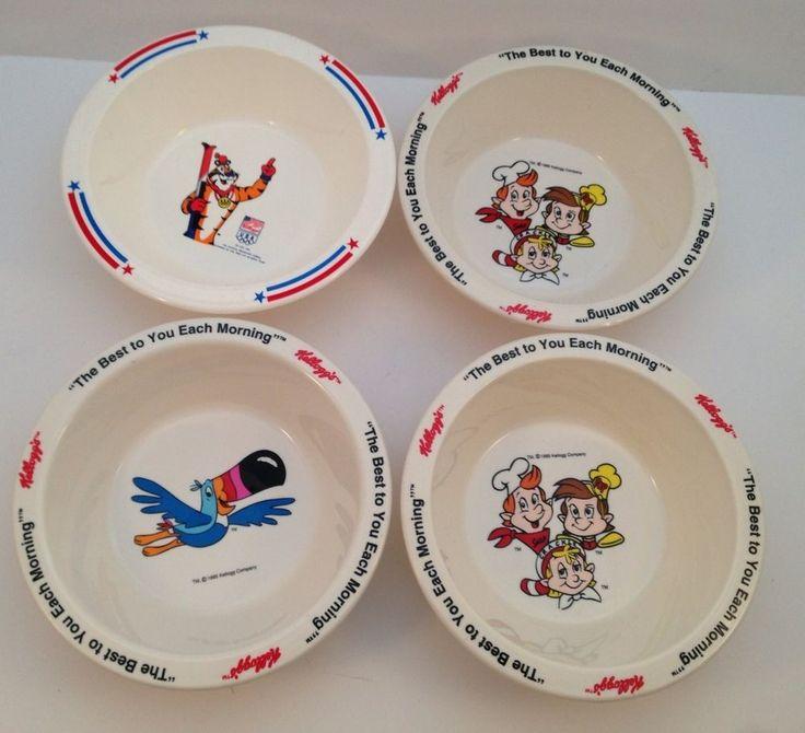 4 Kellogg's Cereal Bowls Tony Tiger Toucan Sam Snap Crackle Pop Olympics Plastic #KelloggCompany