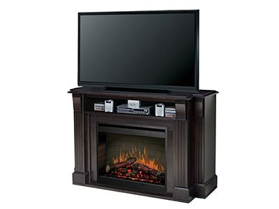 langley fireplace allinone media console provides storage for av components integrated cord management and a platform for up to a plasma or lcd