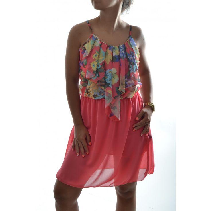 Letné šaty na ramienka so vzorom - oranžové