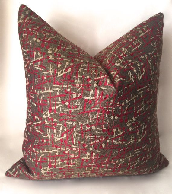 Modern Throw Pillow Cover Brown Atomic Design by SewDeevinePillows
