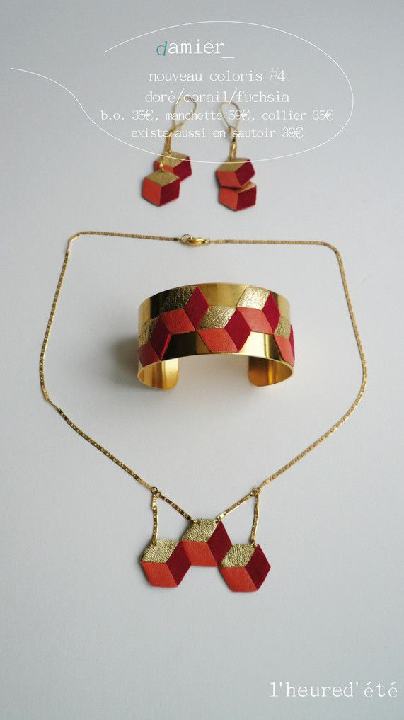 gamme de bijoux à motif damier en cuir