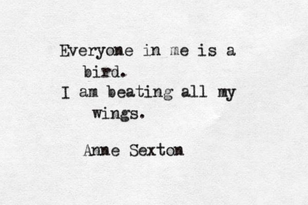 """Everyone in me is a bird. I am beating all my wings"" -Anne Sexton"