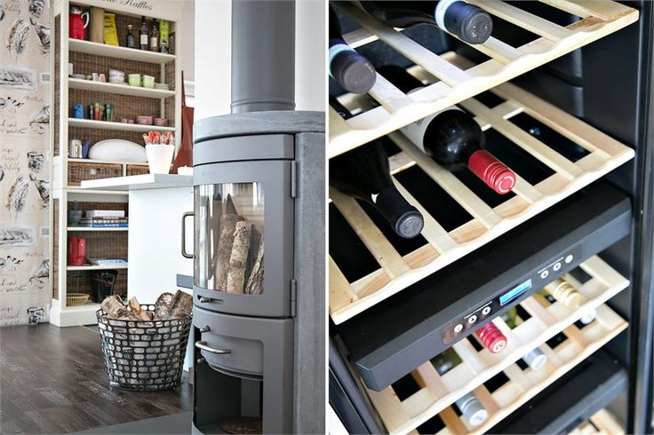 Wine and kitchen storage with a fireplace