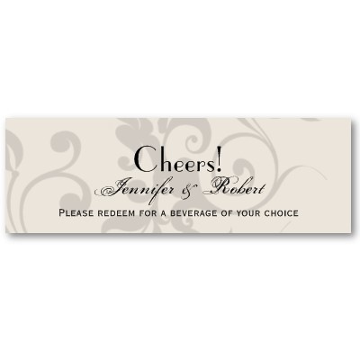 The 17 best images about bar tickets on pinterest wedding save the charcoal and ivory filigree wedding drink ticket business card templates cheaphphosting Gallery