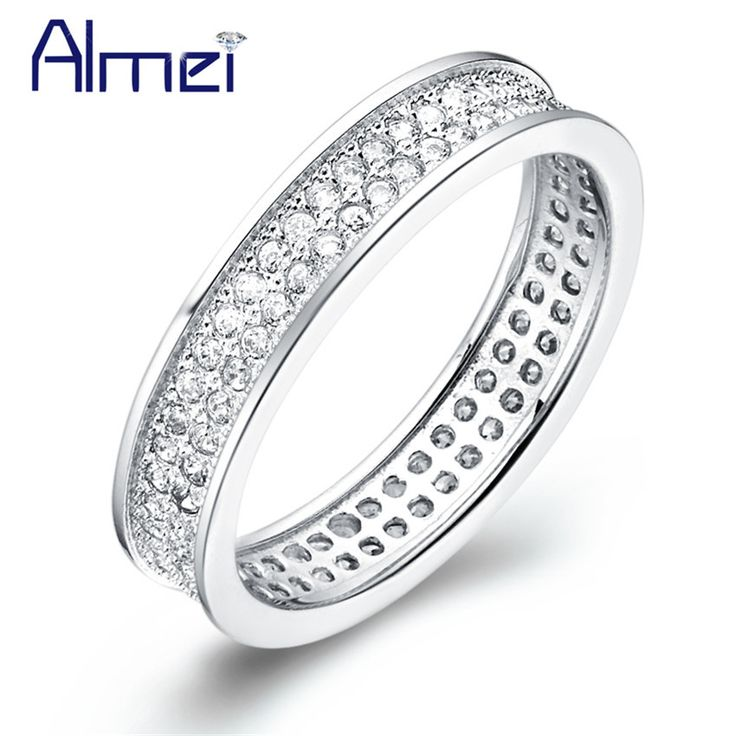 Find More Rings Information about Almei 50% off Women Ring Simulated Gemstone Gift Fashion Jewelry Wedding Rings White Gold Plated Joyas Ornaments Silver J114,High Quality jewelry display gift boxes,China jewelry twins Suppliers, Cheap jewelry strap from Almei Jewelry Store on Aliexpress.com