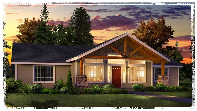 Modular home front porches new plan with large timber for Truss designs for homes