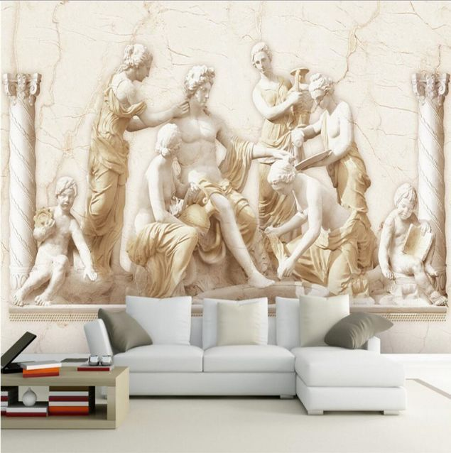 Embossed 3D Wallpaper Roman Relief Bedroom Mural Roll Modern Luxury Background #EuropeModernLuxury #3DEmbossedWallpaper