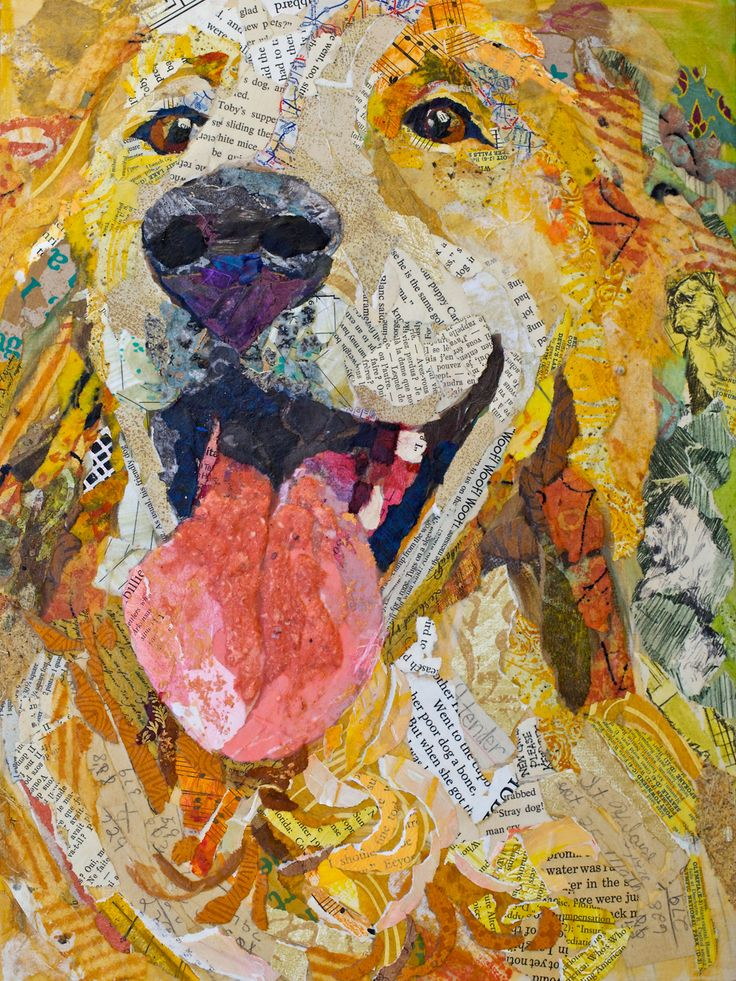 awesome collage-Golden: The Artists, Paper Art, Dogs Art, Hilair Nelson, Elizabeth St., Paper Paintings, Paper Collage, Dogs Portraits, Golden Retriever