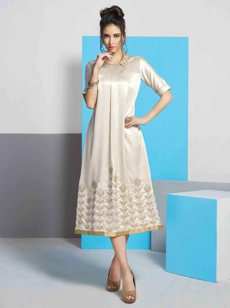 Eid-Offer: Partywear Off White Colored Kurtis Kurtas Designer Silk Kurti #kurtis&kurtas #designer kurtis available at ladyindia.com