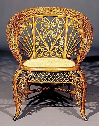 Victorian wicker and cane armchair