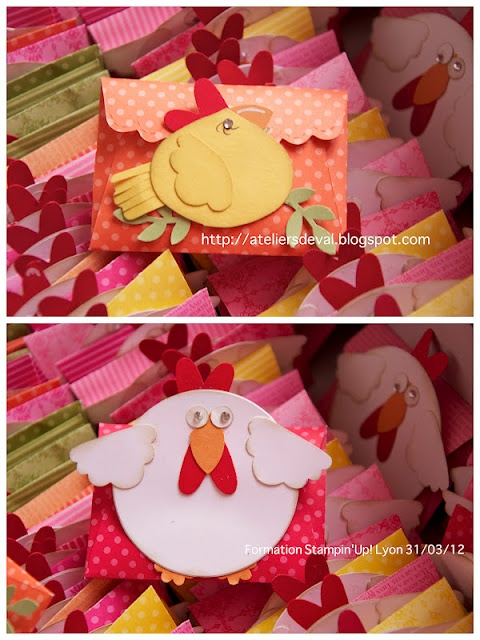 Chickens using Stampin' UP! punches