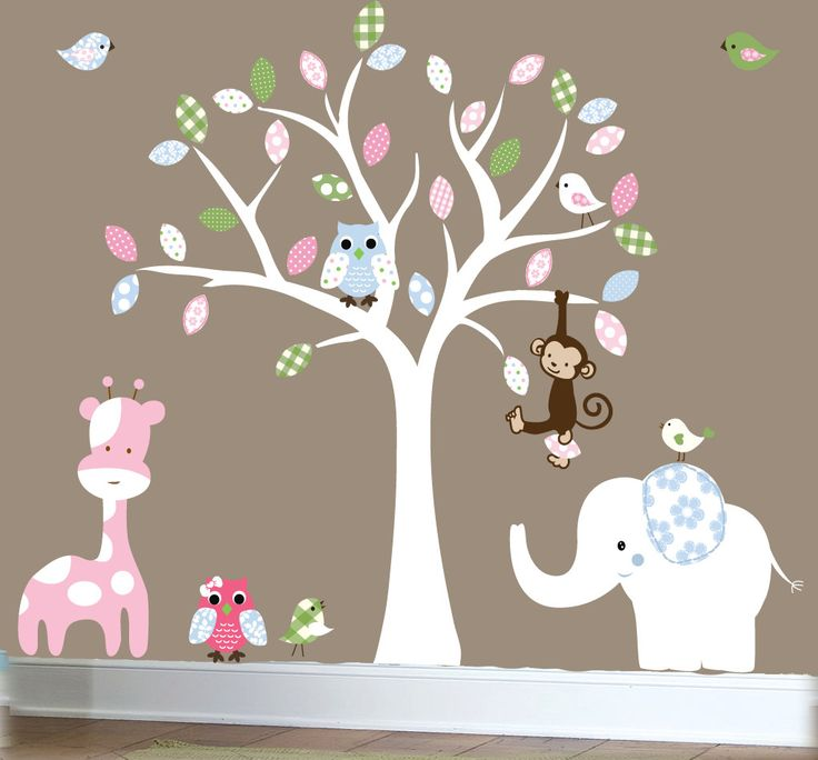 Jungle Wall Decal Nursery White Tree Wall Decal