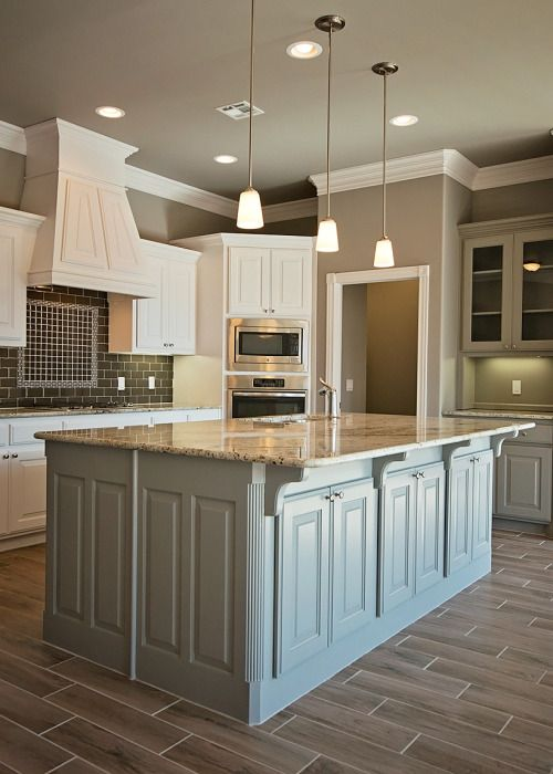 L Shaped Kitchen With Large Island Pendant Lights White