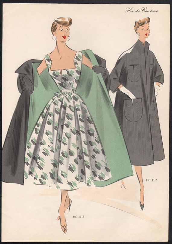 Original French 1950s fashion illustration lithograph
