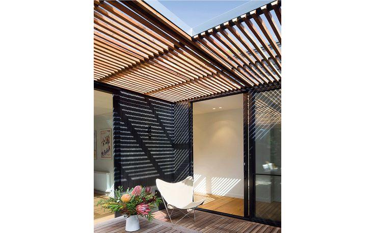 Exterior pergola and deck area