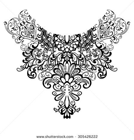 Neck print for fashion and other uses in vector - stock vector