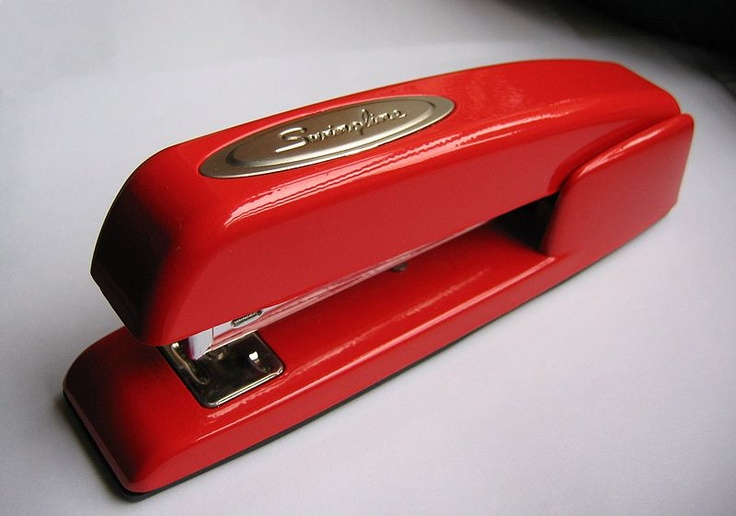 We let our studio assistant Georgia order a new stapler because ours, while classic, are not always fully functioning anymore. Our new red Swingline arrived today!