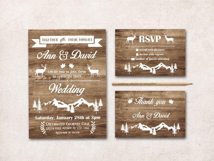 Rustic Wedding Invitation Printable, Fall Winter Wedding Invitation, Deer Wedding Invitation, Mountain Wedding Invite, Printable Wedding von tranquillina auf Etsy https://www.etsy.com/de/listing/209241473/rustic-wedding-invitation-printable-fall