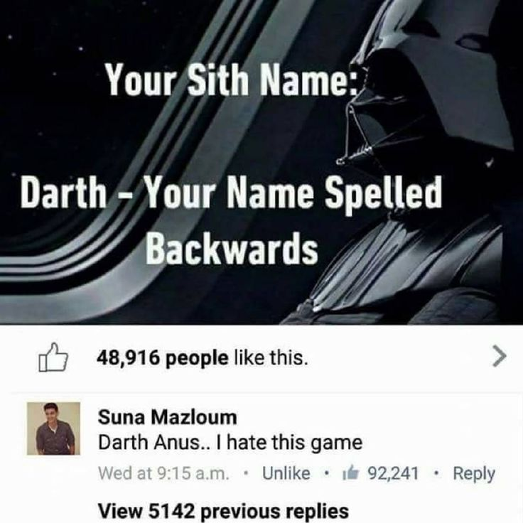 "9,446 curtidas, 1,289 comentários - Star Wars Lore (@starwars_lore) no Instagram: ""What's your sith name? Hopefully it's not as bad as Suna's 😂 👇 Tag a friend in the comments below…"""
