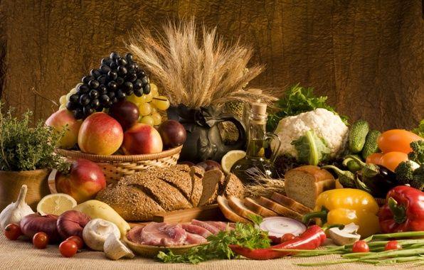 Обои еда, мясо, хлеб, овощи, лук, чеснок картинки на рабочий стол, раздел еда - скачать