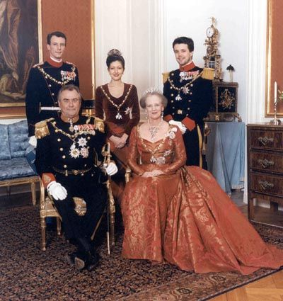 The Danish Royal Family: (Seated L-R) Prince Consort Henrik & Queen Margrethe II; (Back Row L-R) Prince Joachim, Princess Alexandra (his 1st wife) & Crown Prince Frederik (not yet married at this time).