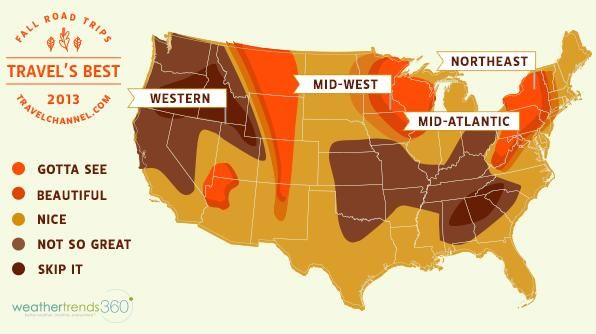 Looking to take some beautiful Fall photos this year. Check out this Fall Foliage Map to see the best states to visit.
