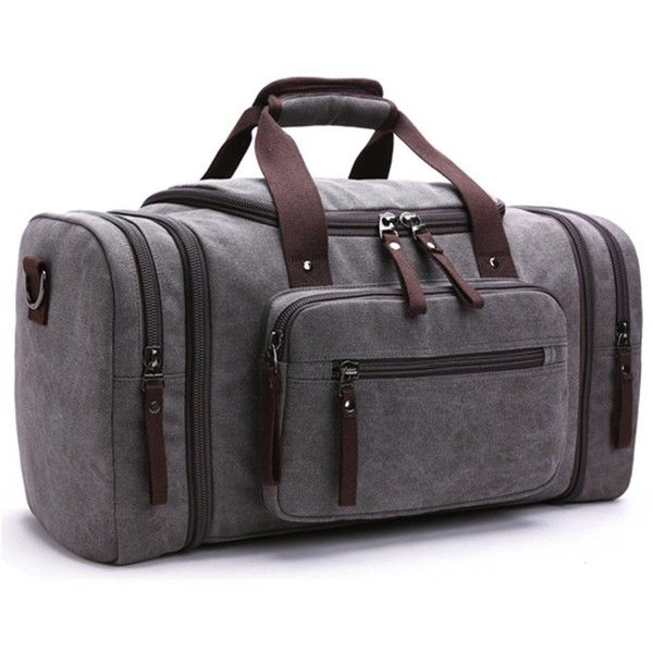 Amazon.com | Toupons 20.8'' Large Canvas Travel Tote Luggage Men's... (£27) ❤ liked on Polyvore featuring men's fashion, men's bags, mens canvas duffle bag, men's duffel bags, men's weekend travel bag, mens tote bag and mens duffle bags