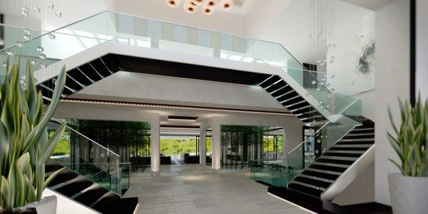double-staircase ** with a cool modern twist