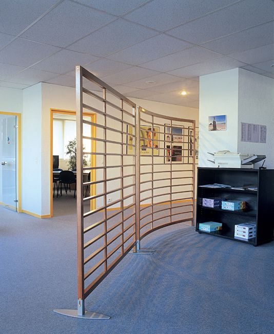 Curved Trellis Screens Defining Areas Within An Office Solid Ash Timber Frame And Inner