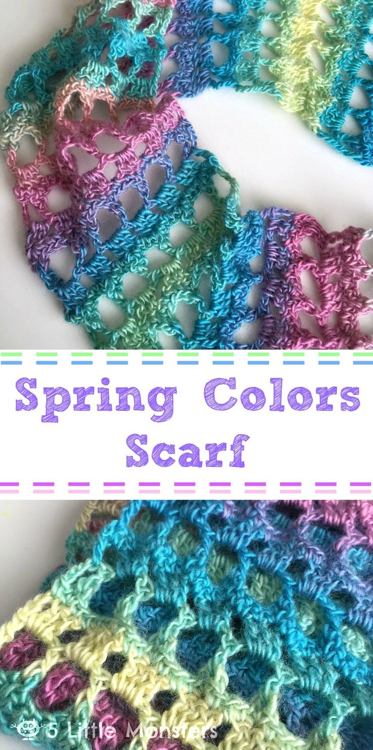 Spring Colors Scarf By Erica Dietz - Free Crochet Pattern - (5littlemonsters)