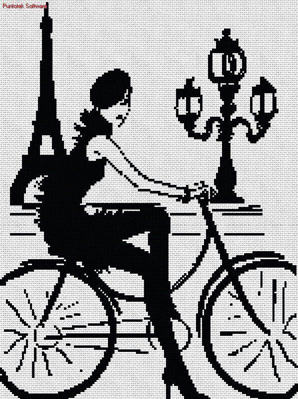 0 point de croix monochrome fille sur vélo à paris - cross stitch girl on a bicycle in paris