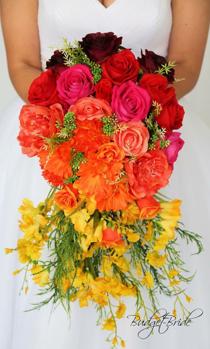 Ombre Wedding Theme Brides Bouquet With Wine Orange Yellow And Coral