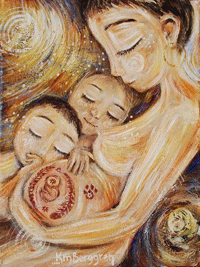 Three Wonders pregnant mom two children 12x12 motherhood