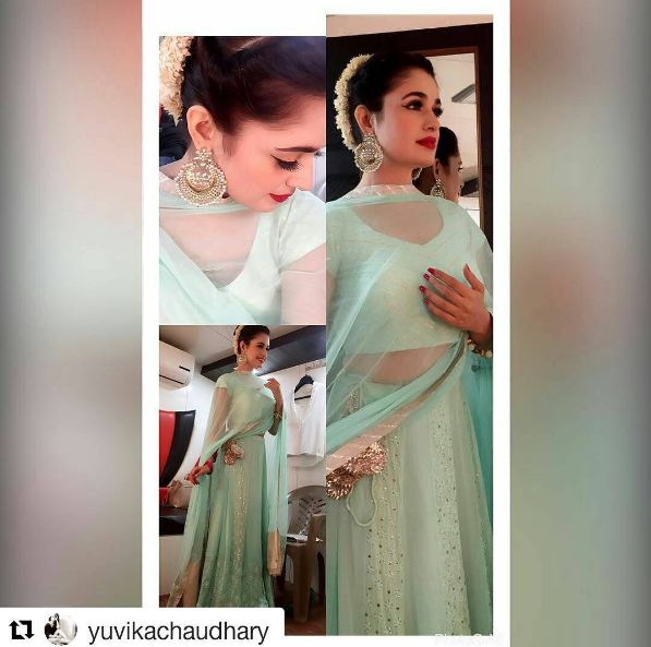 Actress and ex big boss contestant Yuvika Chaudhary in Bubber Couture's Mint Chikankari lehenga set! #yuvikachaudhary #mint #green #lehenga #lucknowi #chikankari #makaish $badla #embroidered #celebrity #indian #indian #wedding #actress #bubbercouture