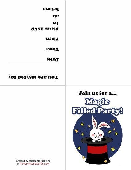 free printable magic party invitations