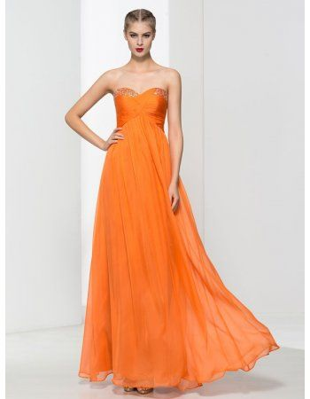 Strapless Ruched Empire Long Orange Chiffon Junior Prom Dress with Plain Beading