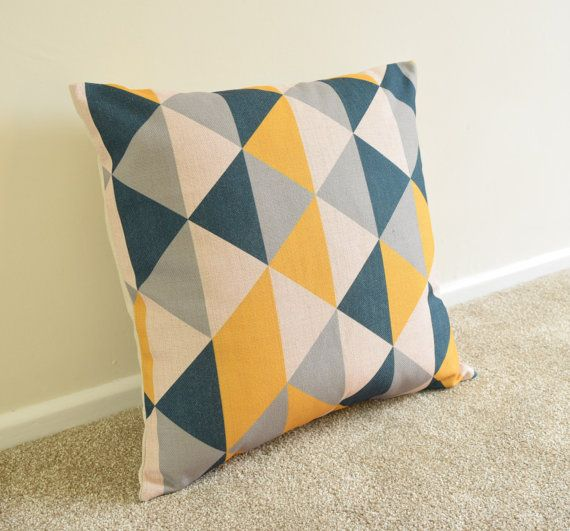 Welcome to SimplySkandi :)  Pattern: Geometric/Scandinavian Design in Mustard, Grey, Black  Item: Decorative Cushion Cover (insert not included)