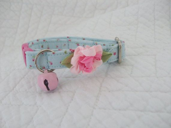 Cat Collar Shabby Blue with Baby Rose Buds by graciespawprints